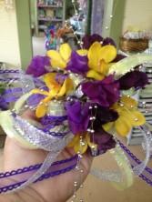 Purple & Yellow Wristlet Corsages