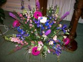Purples And Pinks Floor Basket Sympathy Design