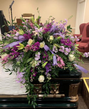 Purples and Whites Casket Spray Sympathy in Grayson, KY | All That Bloomz