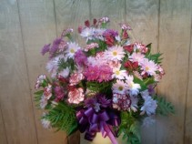PURPLES IN BLOOM FUNERAL ARRANGEMENT