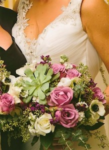 Purple,white and green with succulents and anemone Bridal bouquet
