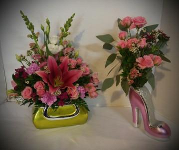 Purse and Shoe Fresh Flowers
