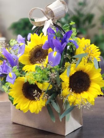 Purse sunflower arrangement Paper purse