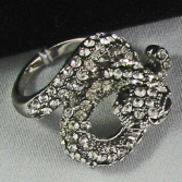 Python Ring Silver Crystal Jewelry