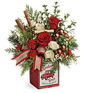 Quaint Christmas All-Around Floral Arrangement