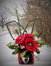 Queen of Hearts Bouquet Cube Arrangement