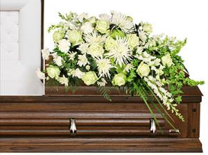 QUIET COMMEMORATION Casket Arrangement in Solana Beach, CA | DEL MAR FLOWER CO