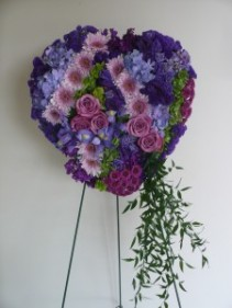 Mosaic Heart of Assorted Lavendar and Purple Flowers (Vary on Season) Shown at $250.00