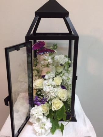 Quite Tribute Floral Lantern Sympathy Flowers