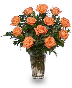 Orange Blossom Special Vase of Orange Roses in Saginaw, TX | WHISTLE STOP FLOWER SHOPPE