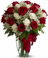 Love's divine Long Stem Red and White Roses