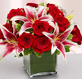 Elegant Embrace Red Rose and Lily Cube Roses