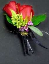 Racy red spray rose boutonniere