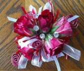 Racy Red spray rose wrist corsage