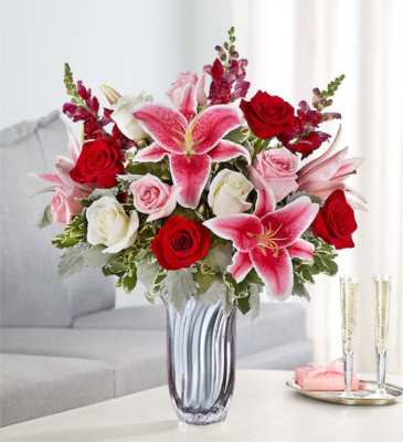 Radiant Devotion Silver Radiance Vase Arrangement