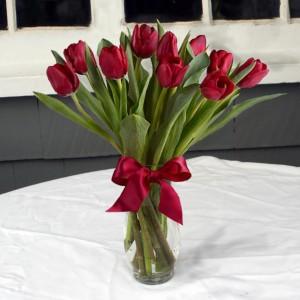 Radiant in Red vase arrangement