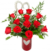 Radiant Love Premium Dozen Rose Arrangement