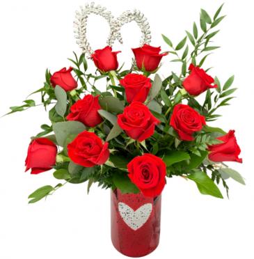 Radiant Love Premium Dozen Rose Arrangement