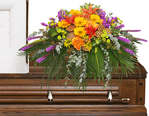 RADIANT MEDLEY CASKET SPRAY Funeral Flowers in Huxley, IA | CHICKEN SHED PRIMITIVES