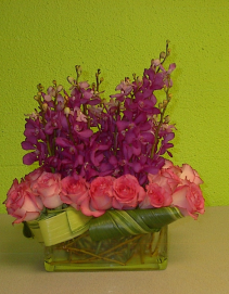 Radiant orchids love Pink roses