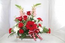 Radiant Red Basket Custom Fitzgerald Flowers Arrangement