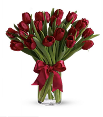 Radiant Red Tulips Arrangement