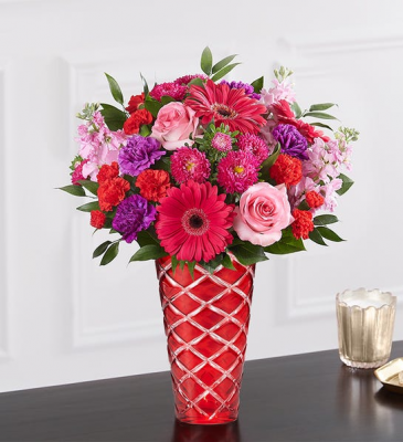 Radiant Rhapsody Red Diamond Vase Arrangement