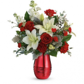 Radiantly Rouge Bouquet Vase Arrangement
