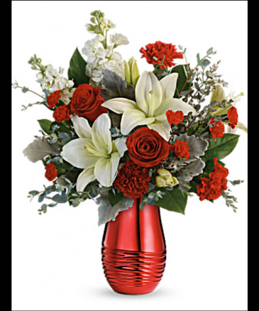 Radiantly Rouge Bouquet  Vased