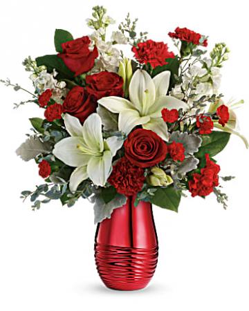 Radiantly Rouge Bouquet Vased Arrangement