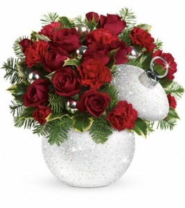 """Exclusively at Flowers Today Florist  Shimmering Snow Ornament """"Keepsake Glass Container with Lid"""""""