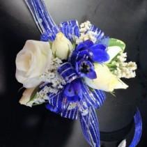 Ragsdale Blue & White Wrist Corsage