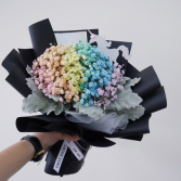Rainbow baby's breath bouquet.  Fun cut bouquet