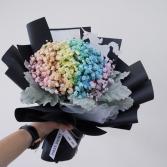 Rainbow baby's breath bouquet.  Fun cut bouquet