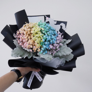 Rainbow baby's breath bouquet.  Fun cut bouquet  in Ozone Park, NY | Heavenly Florist