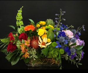 Rainbow Connection  Low Rectangular  in Chesterfield, MO | ZENGEL FLOWERS AND GIFTS