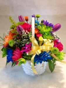 Rainbow Daisy Basket Best Seller in Detroit Lakes, MN   DETROIT LAKES FLORAL