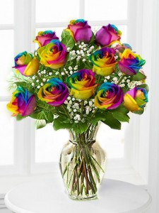 Rainbow Dozen of Roses Call for availability