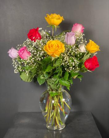 Rainbow Dozen Roses Rainbow Rose Arrangement