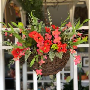 Rainbow Madness Silk Floral Door Basket in Mattapoisett, MA   Blossoms Flower Shop
