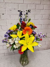 Rainbow of Blooms Vase of Fresh Garden Flowers