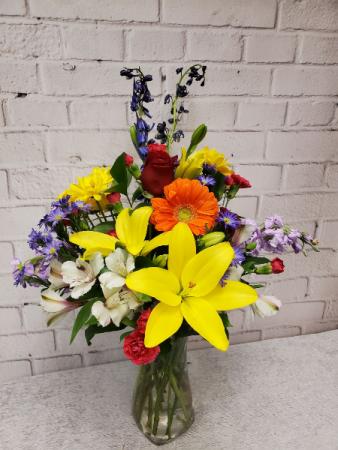 Rainbow of Blooms Vase of Fresh Garden Flowers