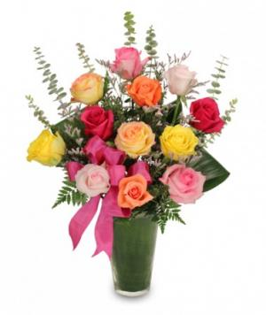 Rainbow of Roses Arrangement in Ashburn, VA | A Country Flower Shop