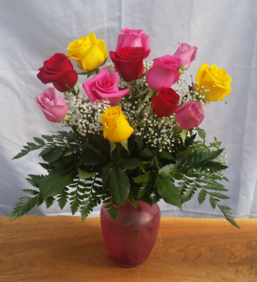 Rainbow of Roses Vase Arrangement