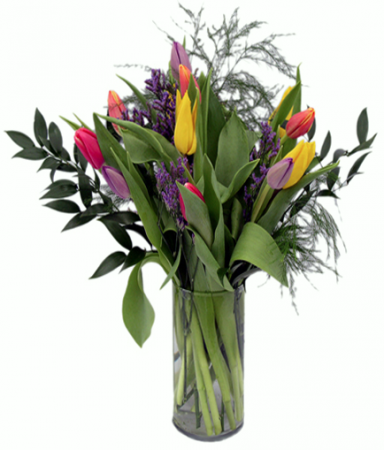 Rainbow of tulips 2 Vase Arrangement