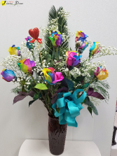 Rainbow Romance Very Limited in stock! Lilies added in for additional price