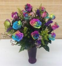 Rainbow Rose Arrangement