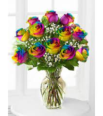 Rainbow Rose bouquet Dozen