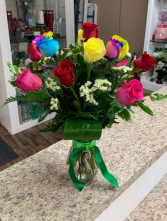 Rainbow Rose Dozen Roses