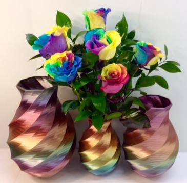 Rainbow Rose Vase Call For Availability